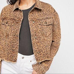 FREE PEOPLE Cropped Leopard Jean Jacket